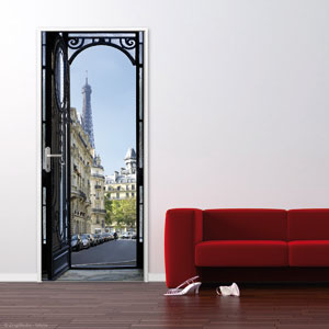Plage france stickers de portes for Decoration a coller sur porte